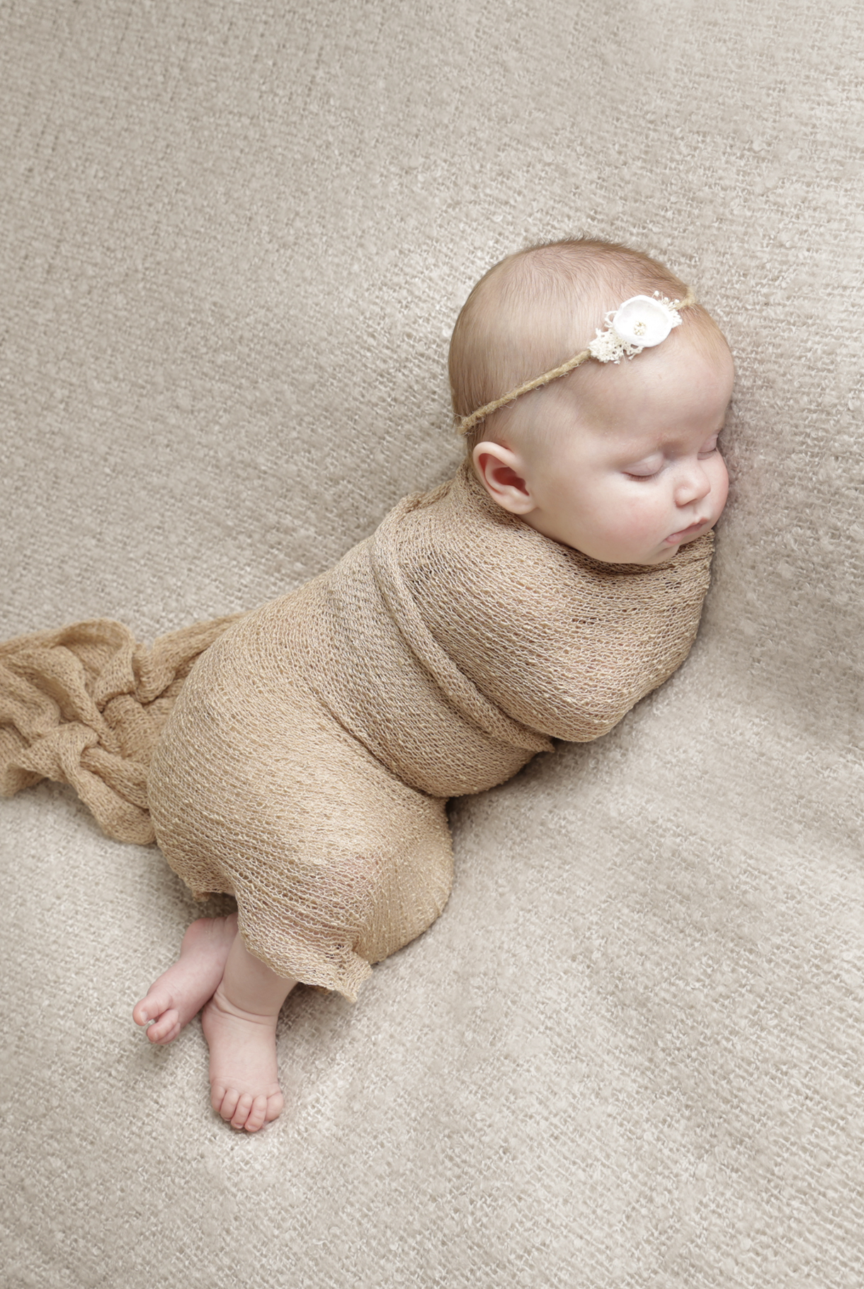 sleep baby wrapped by baby photographer Dumfries