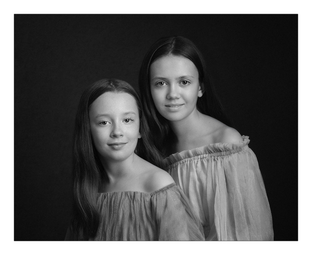 classic portrait of two girls