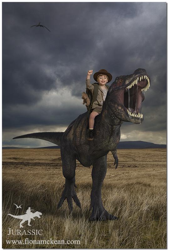 small boy riding a dinosaur through the wild